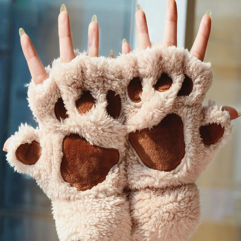 Winter Women Cute Cat Claw Paw Plush Mittens Short Fingerless Gloves Half Finger Gloves
