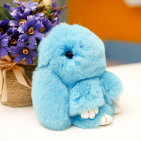 12cm Rabbit Plush Keychain Cute Simulation Rabbit Fur Doll Plush Toy Kids Birthday Gift Doll Peluches