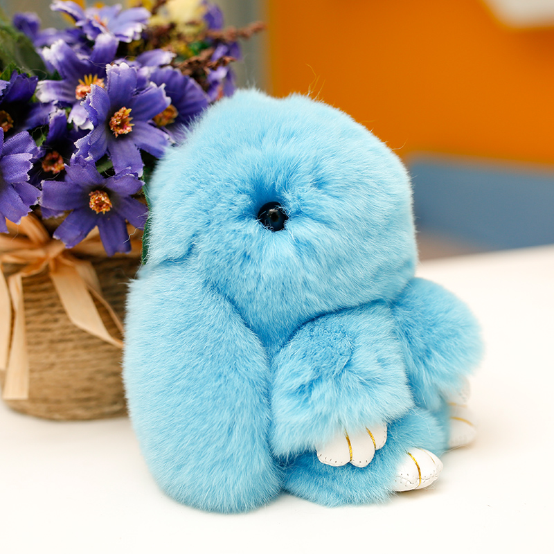 12cm Rabbit plush keychain Cute Simulation Rabbit Fur Doll Plush Toy Kids Birthday Gift doll peluches de animales Decorations