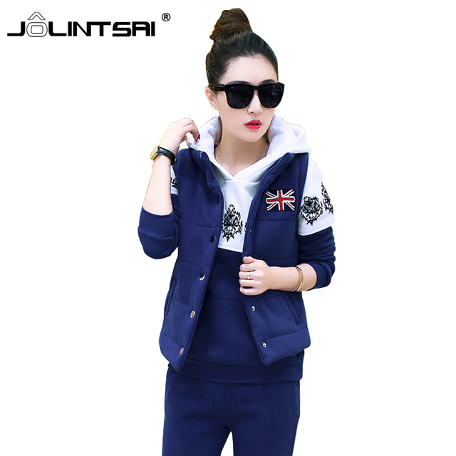 Winter Thicken Warm 3 Piece Set Women Sporting Suits Patchwork Printed Hooded Sweatshirts with Fleece Fashion Women's Tracksuits