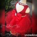 Bela red lantejoulas vestido da menina flor com arco de cristal atraente sparkly backless coração aniversário pageant bola vestidos de ocasião