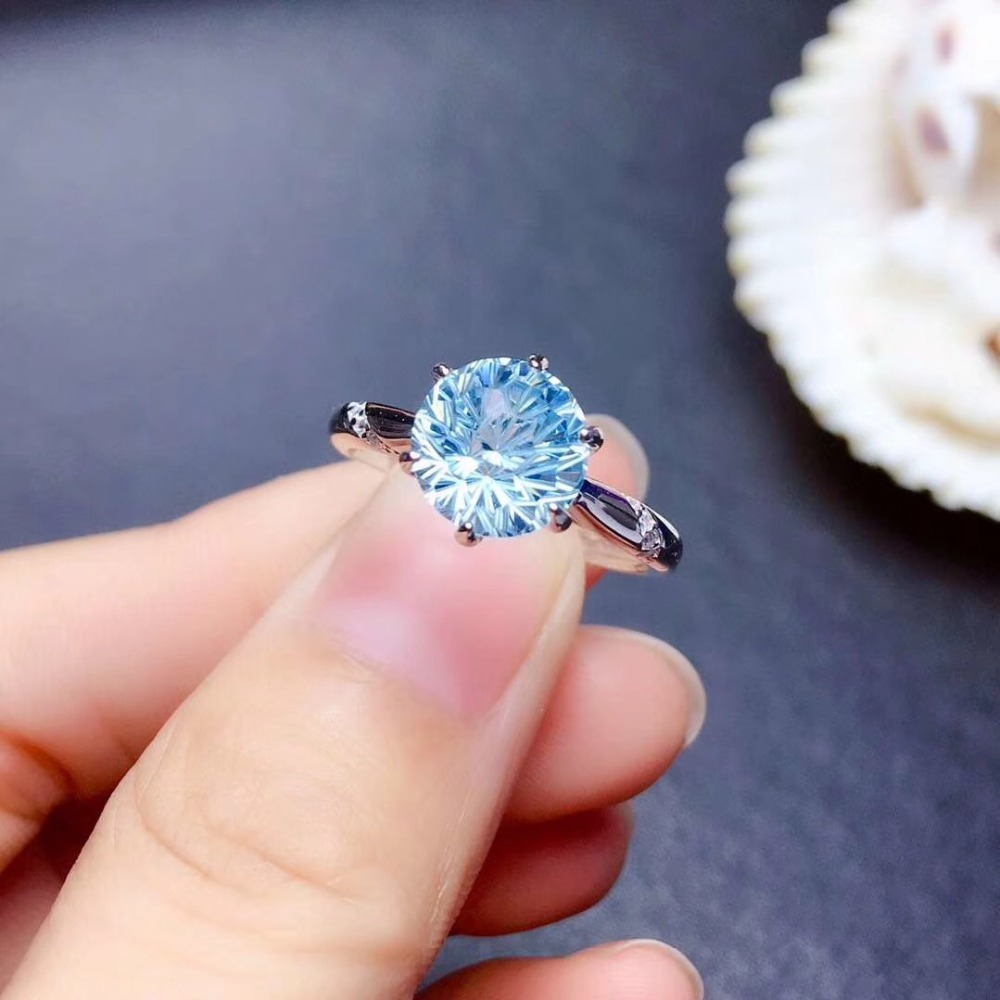 Sky Blue Topaz Finger ring Natural real blue topaz 925 sterling silver ring Luxury style rings 8mm gemstone