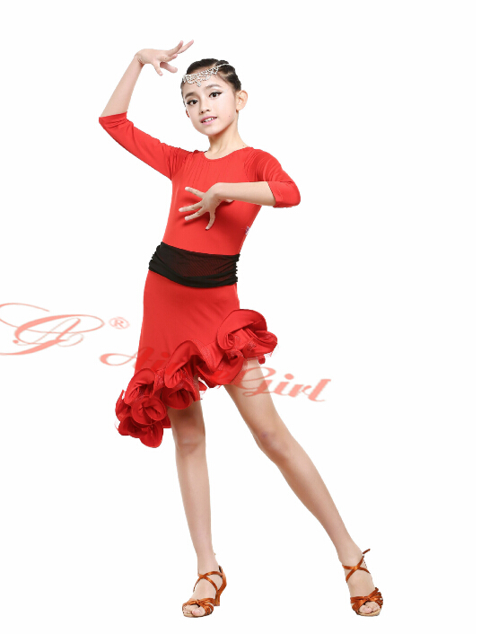Stage performance red black fashion  rumba latin cha-cha dance dress tango samba 110-160cm professional girl child costume