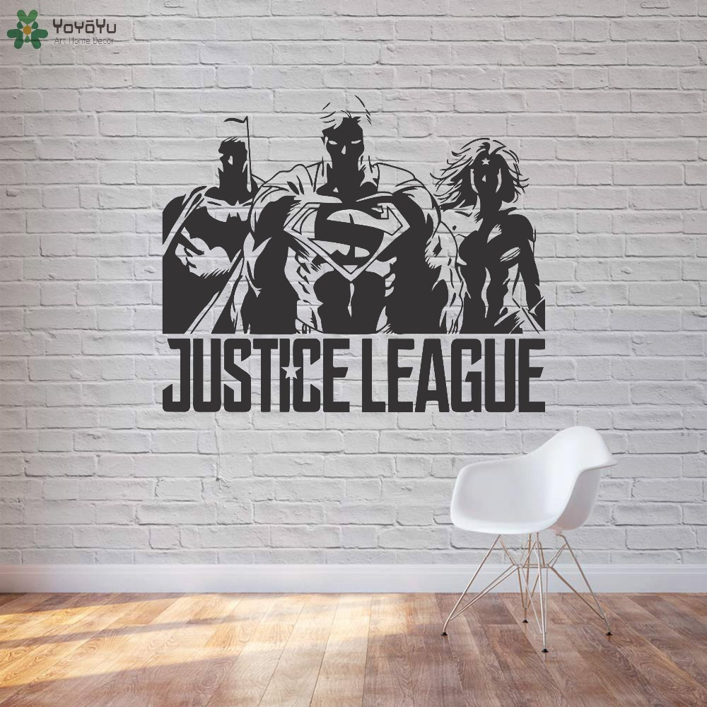 Superheroes Wall Decal Cool Modern Design Justice League Wall Stickers For Kids Rooms Boys Bedroom Gifts Home Decor Bat DIYSY312 interior design