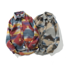 AJZHY Geometric Woolen Men Long Sleeve Spring Tribe Warm Plaid Casual Streetwear