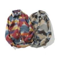 Fashion Geometric Woolen Shirt Men Long Sleeve Spring Tribe Warm Plaid Casual Shirt Streetwear Clothing Autumn Printing Shirt