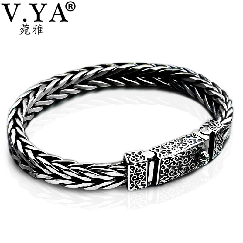 V.YA Vintage 925 Sterling Silver Dragon Grain Bracelet Men Jewelry Thai Silver Keel Bracelets Bangles Male Gifts 925 sterling silver thai vintage pendant thai retro men male jewelry chian dragon bracelet ch059082