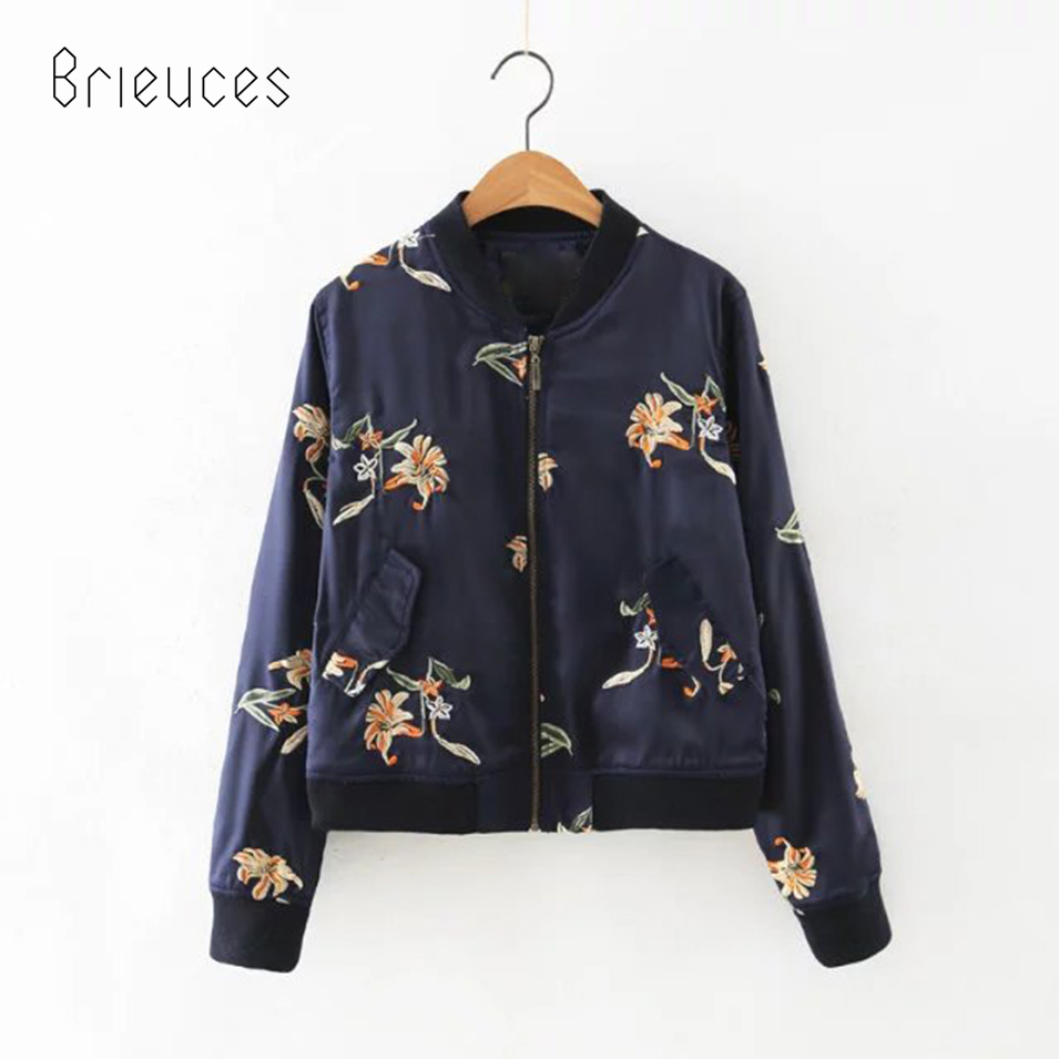 Brieuces spring and autumn flowers embroidered collar baseball  jacket women pink blue loose casual jacket women new