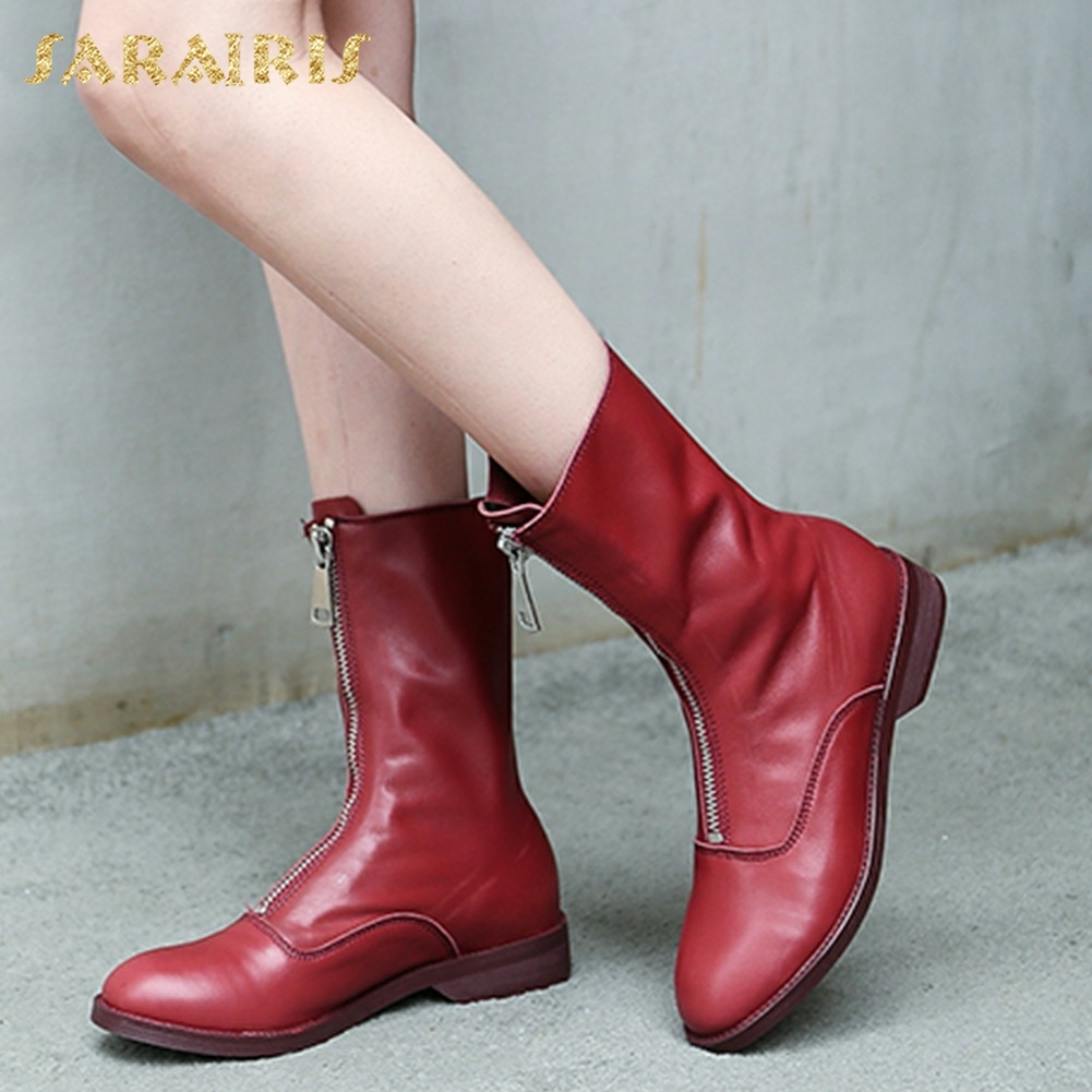 SARAIRIS Genuine Leather plus Size 33-43 Cow Leather Zip Up Women Shoes Woman Boots Chunky Heels Mid Calf Boots Woman doratasia 2018 genuine leather zip up cow leather shoes woman martin boots chunky heels wholesale mid calf boots woman shoes