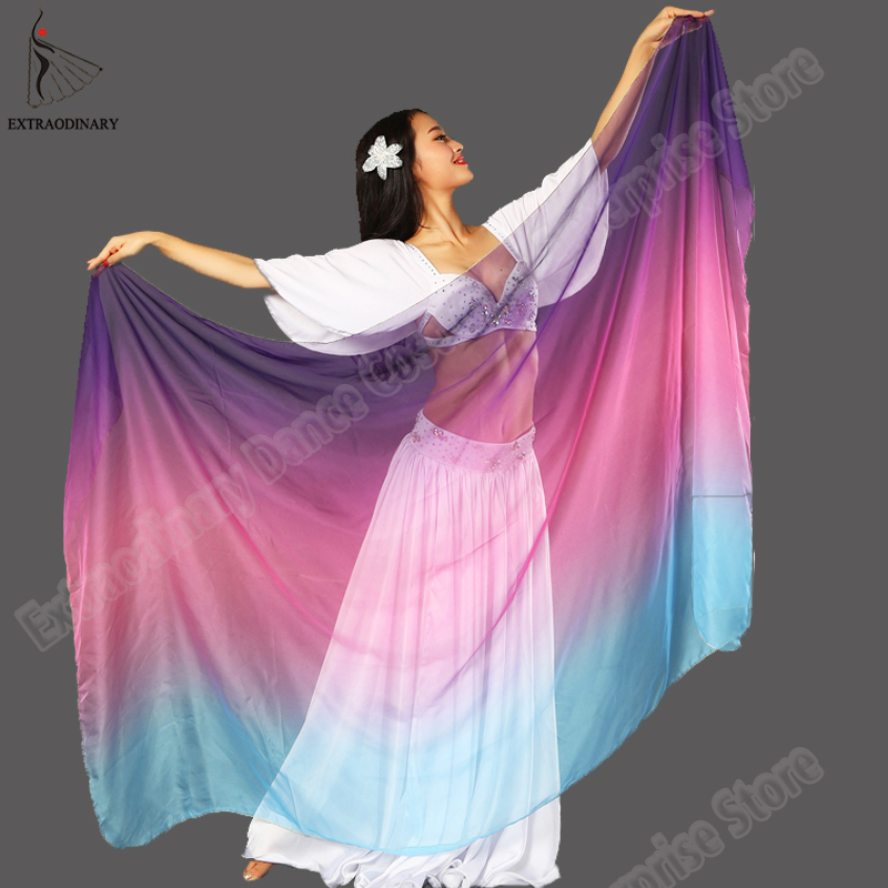 Silk Shawl Veil Belly Dance Veils 210*110cm Stage Performance Accessories Women 6 Colors Veil Bellydance Light Silk