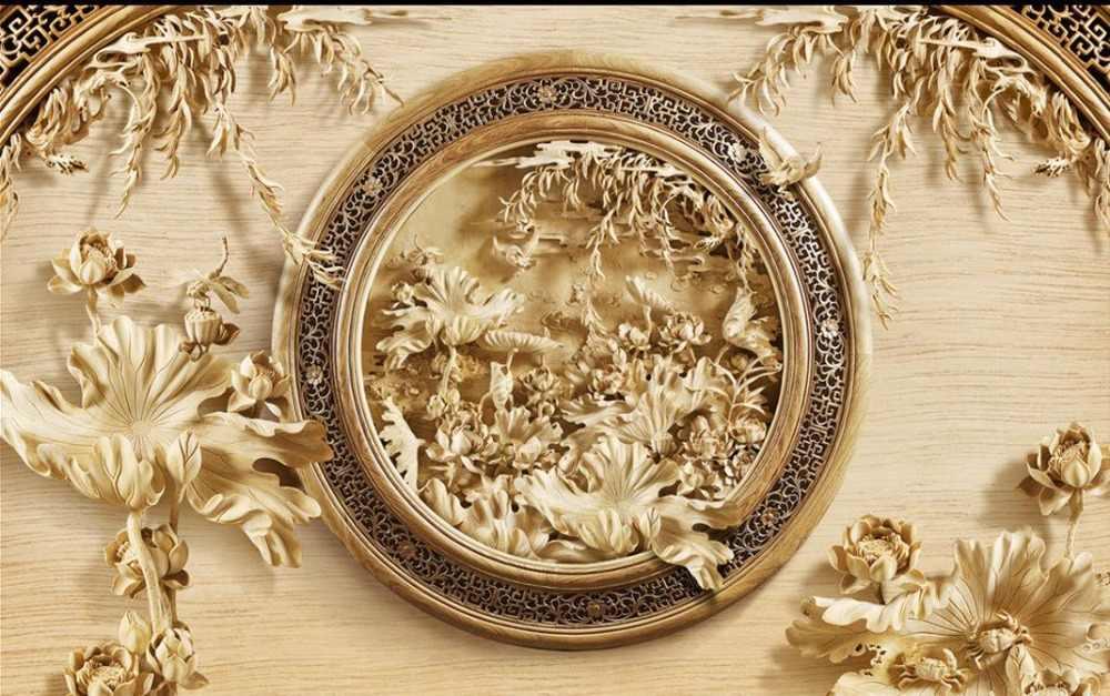 3d murales Decorazione Della Casa 3D intaglio del legno di loto moderno soggiorno sfondi foto wallpaper