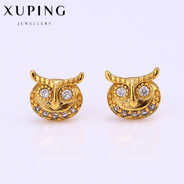 Pure Gold Color Owl Earring Stud Lovely Cute Design For Women Best Choice Mother S Day