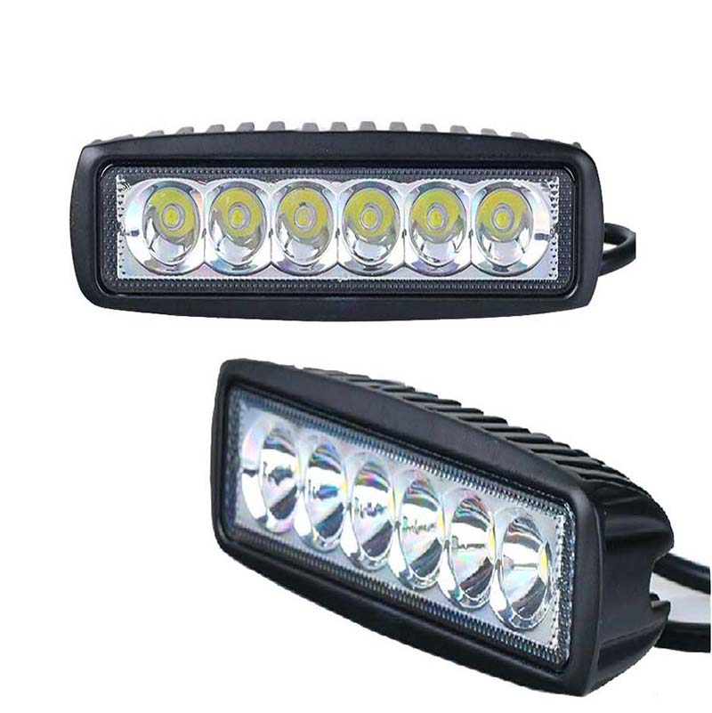 Auto parts 6 Inch 18W LED Bar 12V LED Bar Work Light Boat Car Truck Lamp SUV UTE ATV offroad 4x4 Driving Fog Lamp 2PCS