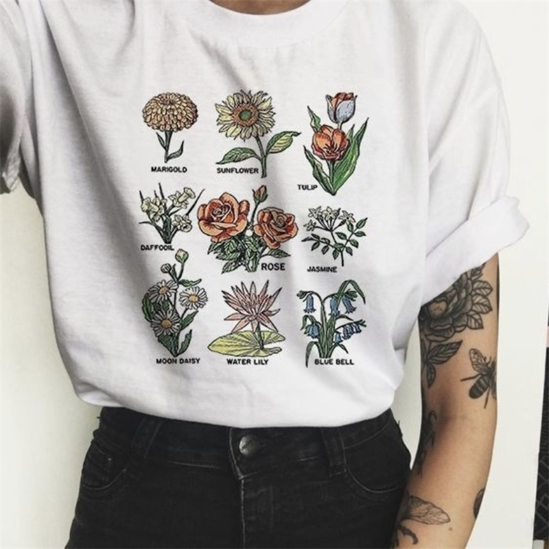 Harajuku Tees Shirt Wildflower Graphic Tees Floral Print T Shirt Women Sunshine Plant These Tee Unisex T-shirt