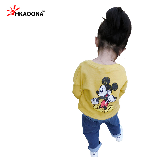 New 2017 Children's Clothing Spring Solid Color Cartoon Mouse Pattern Girl Sweater Long-sleeved Child Shirt