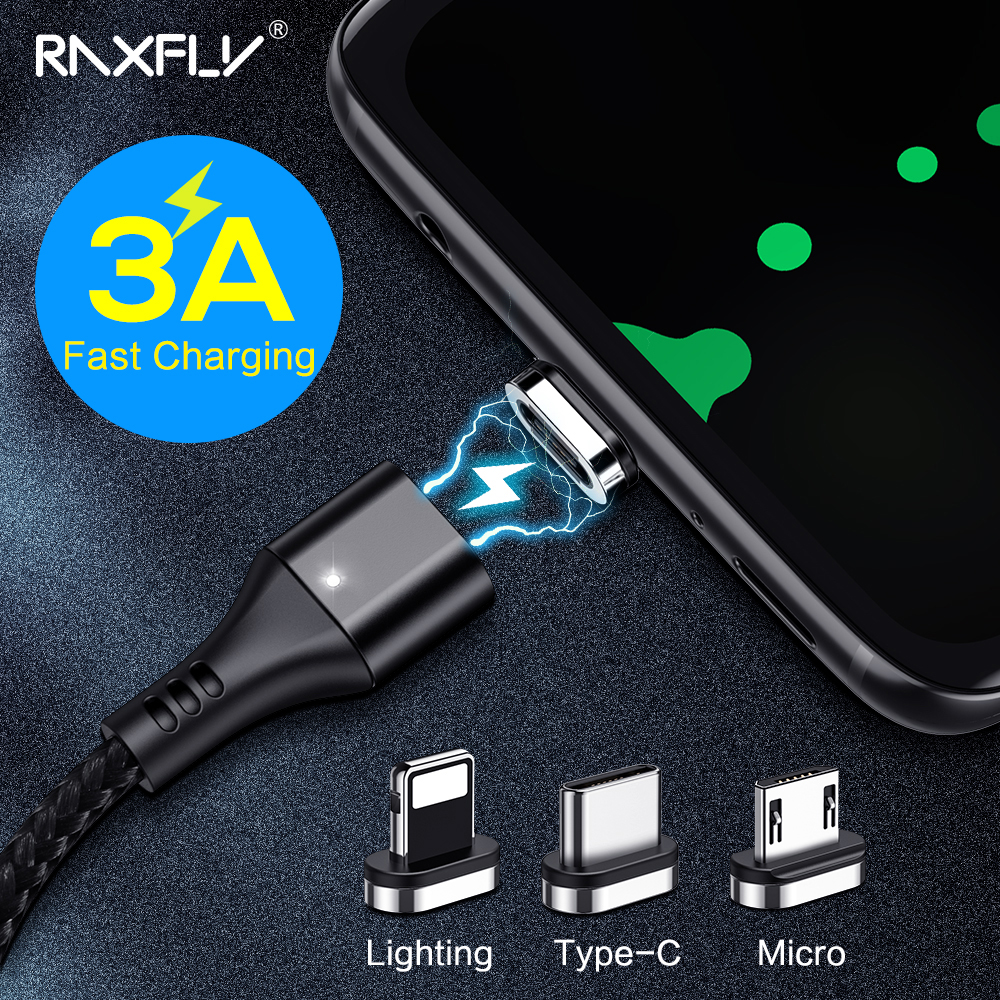 RAXFLY Magnetic USB Charging Cable 3A Fast Charging Wire Micro USB Type C Cable For Samsung S9 Nylon Magnetic Charger For IPhone