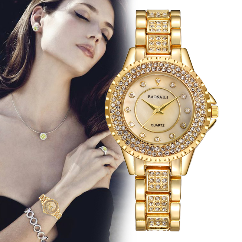 BAOSAILI Luxury Ladies Quartz Watch With Rhinestone Fashion Full Steel Women Wristwatches Relojes Mujer Brand Hour Female Clock weiqin luxury gold wrist watch for women rhinestone crystal fashion ladies analog quartz watch reloj mujer clock female relogios