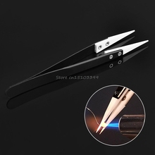 Hot Ceramic Tips Tweezers Stainless Steel Handle Straight Aimed Tweezers For Coils Hand Tools #G205M# Best Quality
