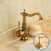 Bathroom Sink Basin Mixer Tap Brass Deck Mounted Carving Faucets WC Bathroom Faucet Antique Bronze Hot