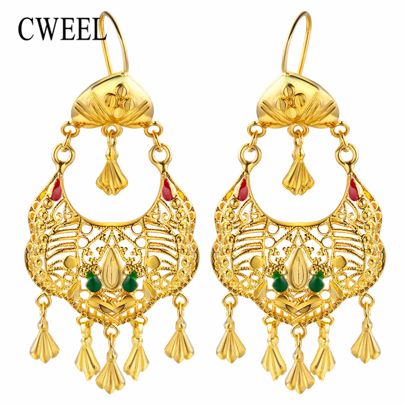 CWEEL Drop Dangle Earrings For Women Vintage Wedding Long Tassel Statement Earrings Gold Color Geometric Hanging Boho Earring