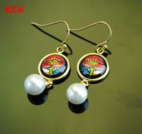 Cloisonne hand painted enamel European style earrings 11
