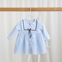 baby girl dress 2017 spring and autumn new infant dress eyelet lace long sleeve princess dress fashion cute girl baptism dresses
