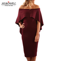 SEBOWEL 2017 New Summer Dress Women Luxurious Batwing Cape Off Shoulder Midi Dress Plus Size Elegant