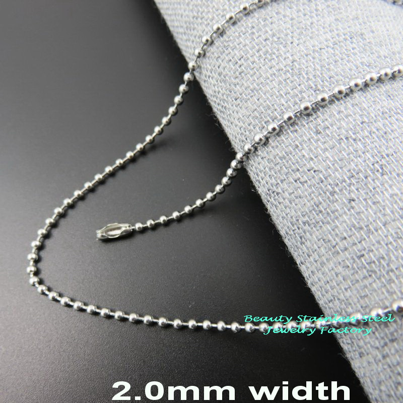 Width 2.0mm Stainless Steel Keychain, Bead Ball Dogtag Chain, Floating Locket Necklace Fashion Jewelry Parts
