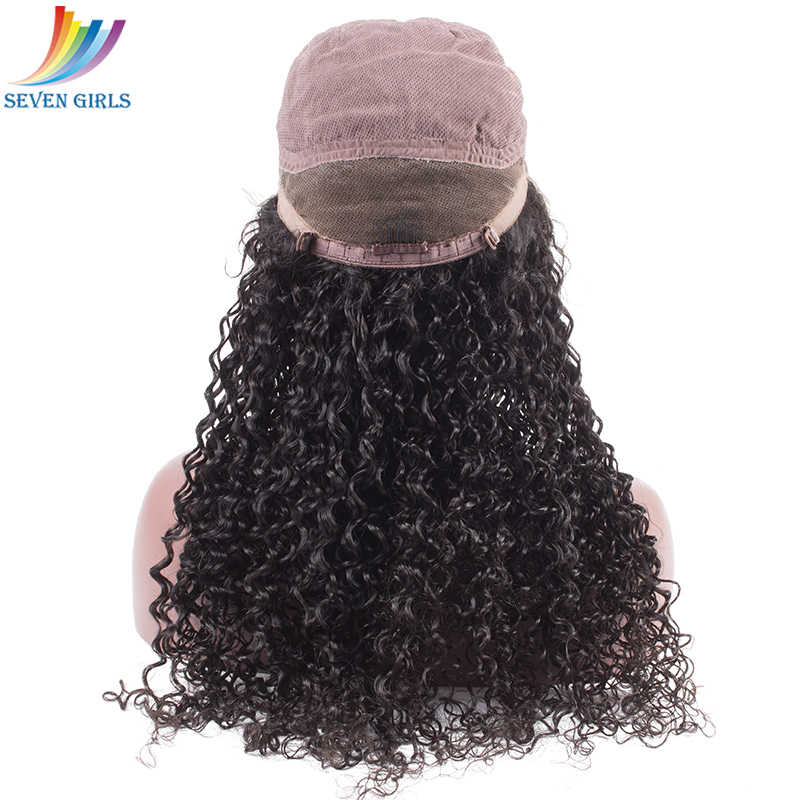 Sevengirls бразильские предварительно сорванные полные парики шнурка человеческих с волосами младенца естественного цвета глубокие кудрявые влажные и волнистые парики для черных женщин