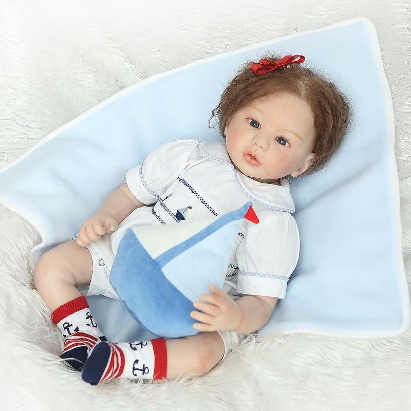 22 силиконовая возрождается куклы с ткани тела вьющиеся волосы каштановые волосы маленькая девочка с соской игрушки Дети удивить подарки н
