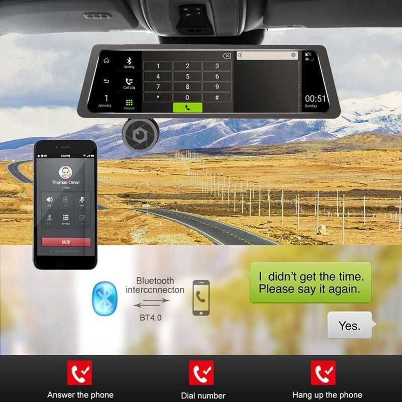 10 дюймов полный Экран 4G Пресс Ips Универсальный в комплекте автомобильный видеорегистратор заднего вида зеркало заднего вида с GPS Bluetooth Wi-Fi Android 5,1