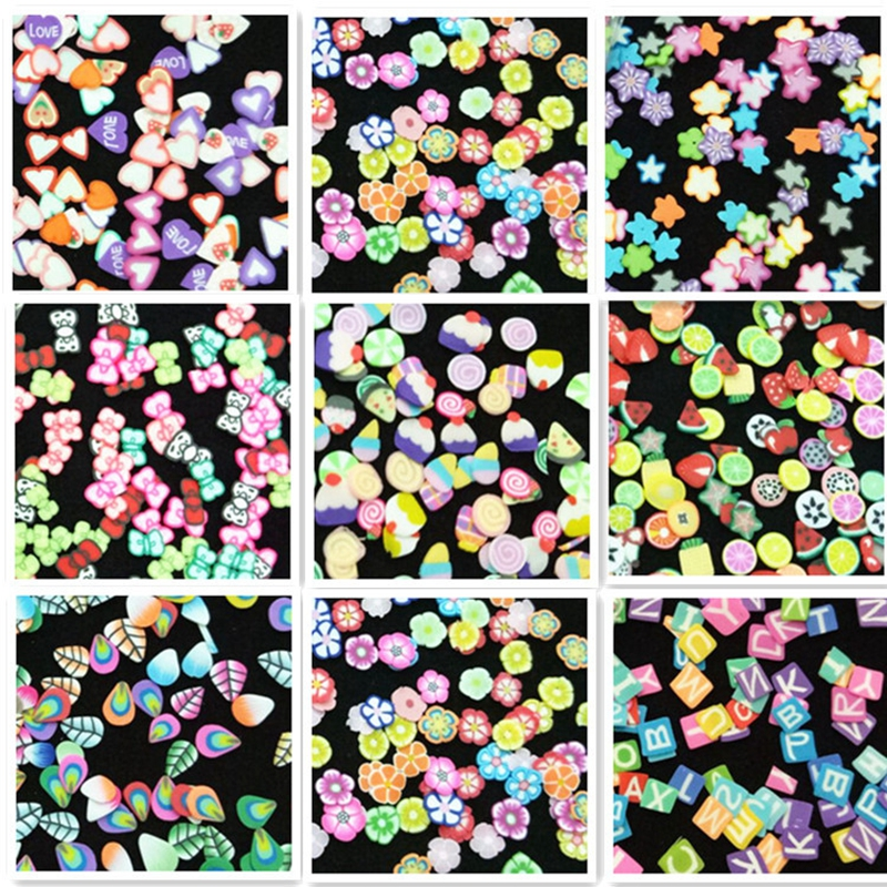 Mtssii 1000pcs Colorful Fimo Slice Nail Studs Polymer Clay Mixed Fruit Flower Cake Christmas Heart Animal 3D Nail Art Decor kitchen slice of bread cake separators white green 2 pcs