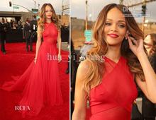 free shipping Celebrity Dress Rihanna 2013 the Grammy Awards Red Carpet Dresses Sheer Halter Real Images Poly Chiffon Dresses