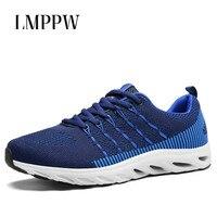 New 2018 Autumn Sneakers Men's Breathable Casual Shoes Korean Trend Mesh Men's Shoes Lightweight Men Flats Trainers Blue 2A