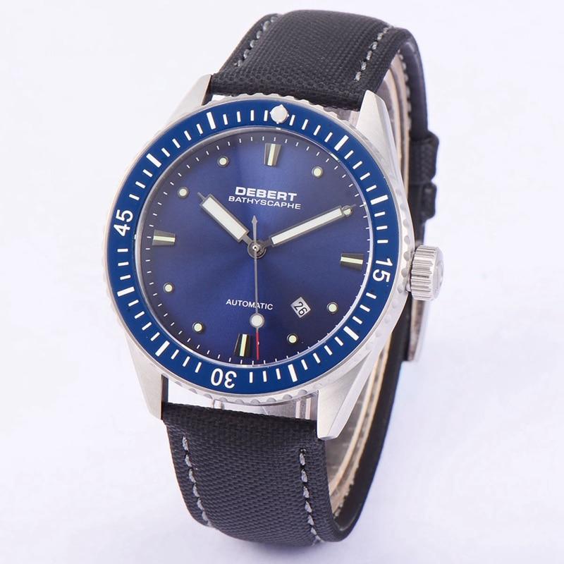 Debert 43mm Mens Automatic Watch Blue Dial Rotatable Ceramic Bezel Sapphire Watches Miyota 821A Men Mechanical Clock DT7032SLK 43mm debert blue dial ceramic bezel sapphire glass miyota automatic mens watch 32