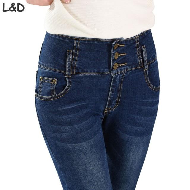 f799a1efd8da 2018 Spring Autumn High Waist Skinny Jeans Women Full Length Denim Pants  Female Three Buttons Fly