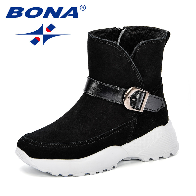 BONA Warm Kids Snow Boots For Children 2018 Autumn Boys New Winter Comfy Child Shoes Non-Slip Flat Round Toe Girls Lovely Boots stainless steel led scuff plate door outside sills trim car accessories welcome pedal for ford kuga 2013 2014