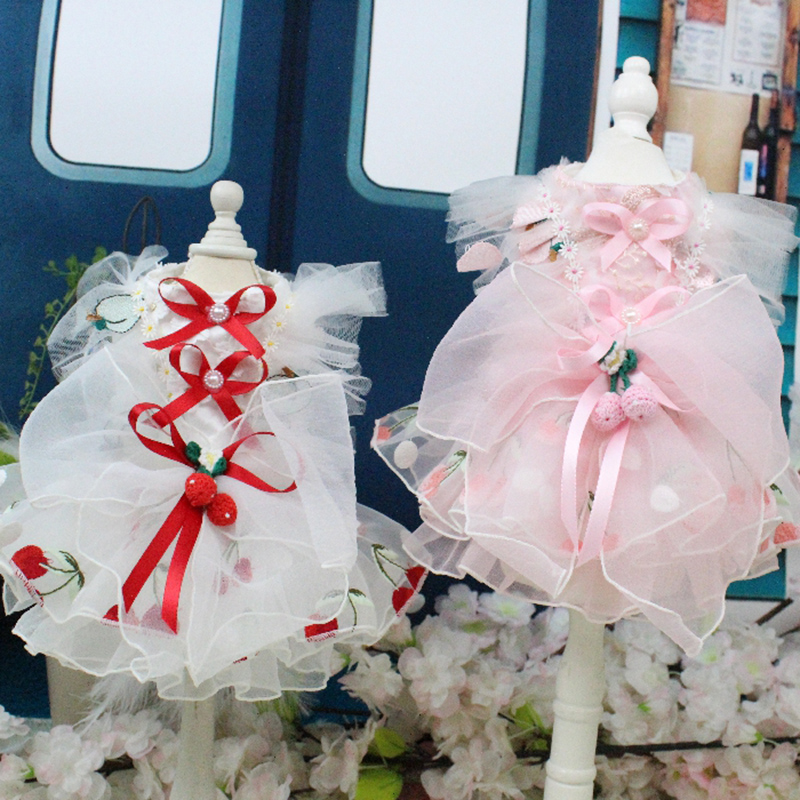 Bridal Shoes Yorkshire: OnnPnnQ Handmade Dog Wedding Dress Princess Lovely Cherry