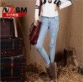 Mujeres de la manera Jeans Elástico Stretch Agujero Flaco Slim Fit Pantalones Lápiz de Cintura Alta Mujeres Pantalones Azules de Lavado
