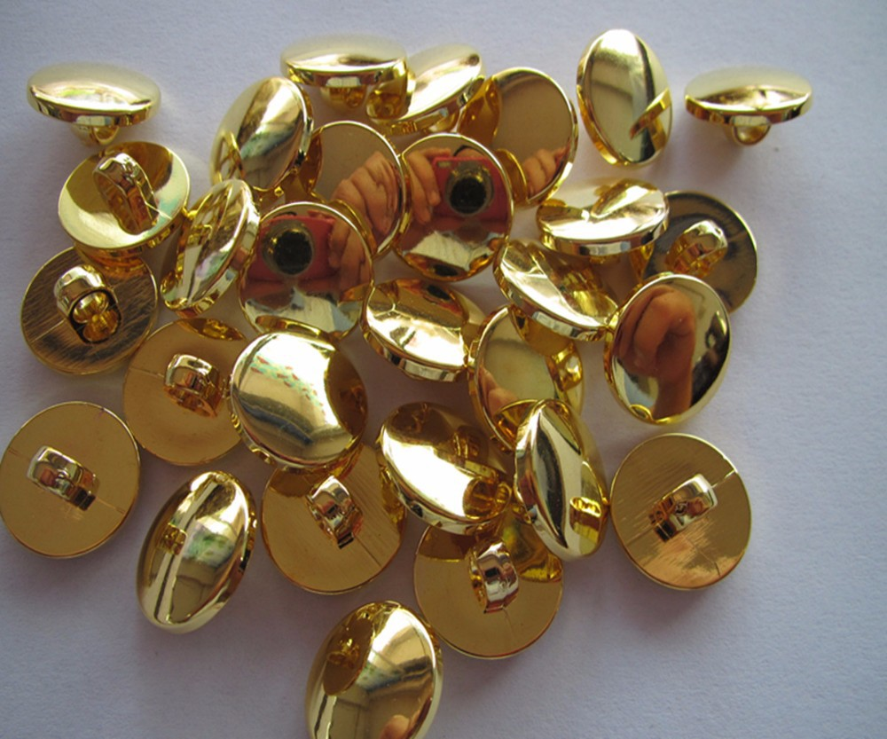 Free shipping 30mm shank button sewing shank button blouse plastic button plating gold fashion button gold color 100pcs