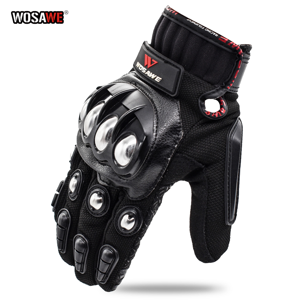 WOSAWE Stainless Steel Motorcycle Gloves Touch Screen Racing Motorbike Luvas Sports Shockproof Guantes Ciclismo