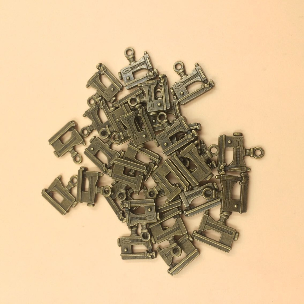 Bronze Tone Sewing Machine Charm Pendants 15x14mm 30pcs per lot (T456) 2015 New Free Shipping image