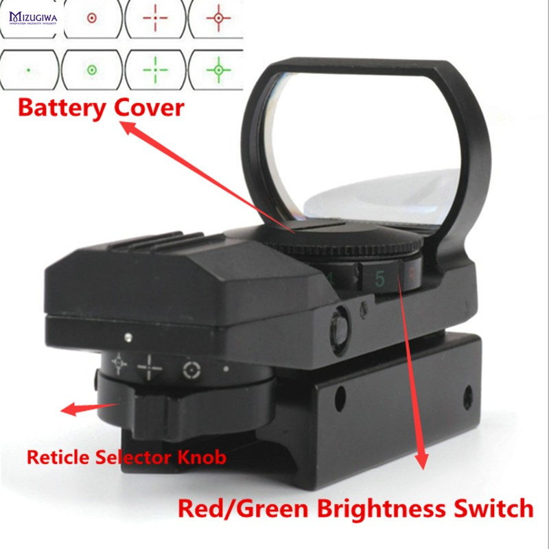 MIZUGIWA Holographic 4 Reticle Reflex Tactical Red Green Dot Sight 1x22x33 Scope 20mm Rail Optical Sight Scope Gun Para Airsoft