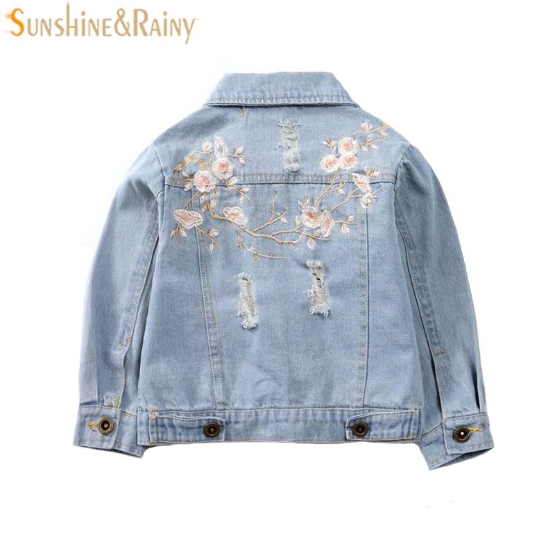 Джинсовые куртки для девочек осень с цветочной вышивкой Детские рваные Джинсы для женщин модная куртка детская верхняя одежда Зимнее пальт...
