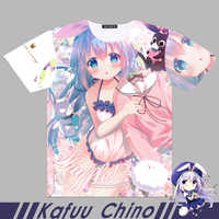 Men Women t shirt Anime Is the order a rabbit? Kafuu Chino Cosplay Full Graphic T-shirts Print Tees Tops Short Sleeve
