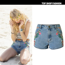 New Fashion Women Tassel Floral Jeans Shorts Summer Flower Embroidery Denim Shorts High Waist Ripped Shorts Hot