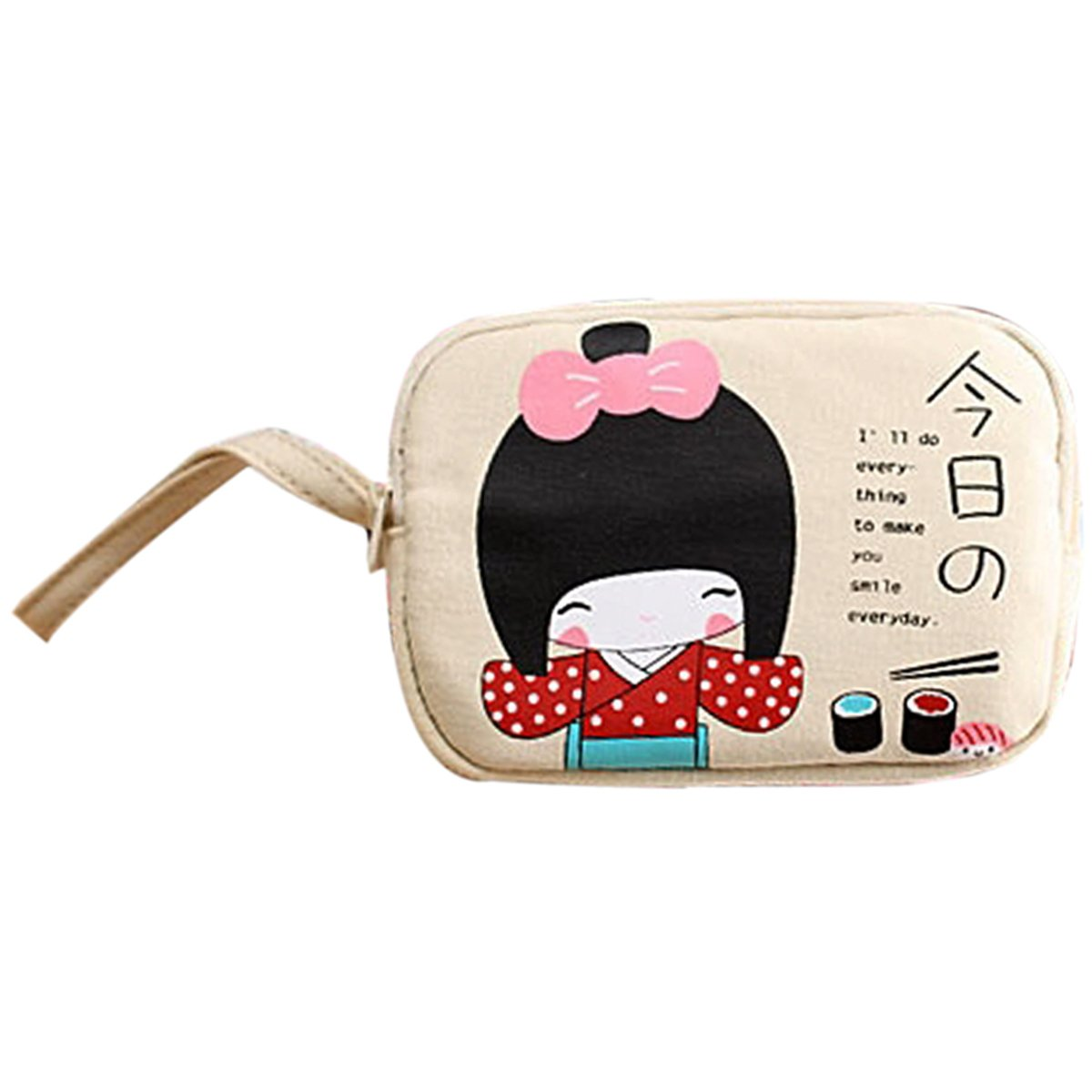 5 X SNNY NEWBRAND New Cute Japanese Girl Print Canvas Phone Bag Double Zipper Purse Coin Bag Off-White