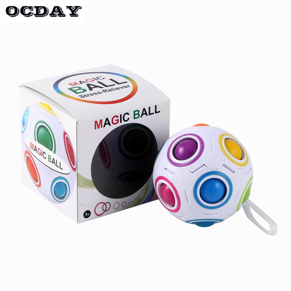 Rainbow Magic Ball Spherical Magic Cube Ball Anti Stress Puzzles Balls Kids Educational Toys For Children Fidget Cubes