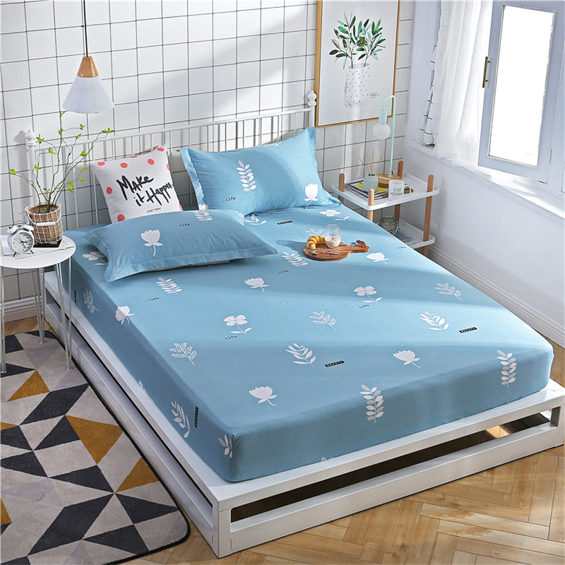 White Small Tree Pattern 3Pc polyester Fitted Sheet Bed Sheets Comfort Mattress Cover Bedding Linens Bed Coverlet Set Queen Size