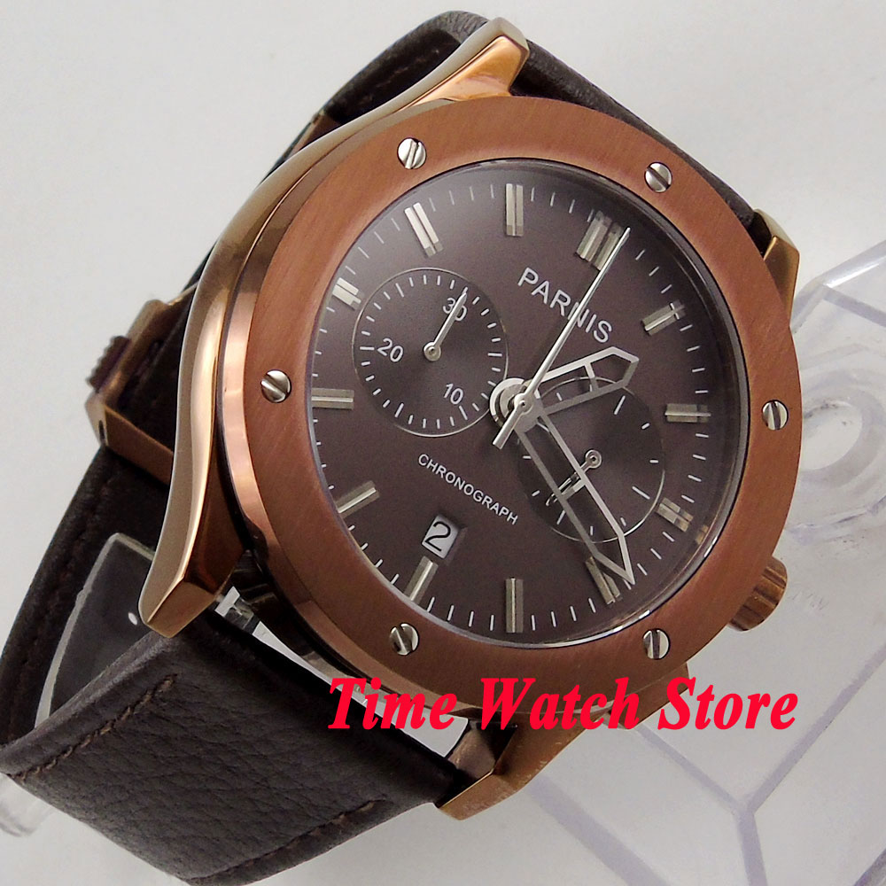 parnis coffee dial rubber strap deployant clasp quartz chronograph mens watch 218 Parnis 44mm men's watch Full chronograph quartz movement wrist watch 634 brown dial bronze plated case deployant clasp